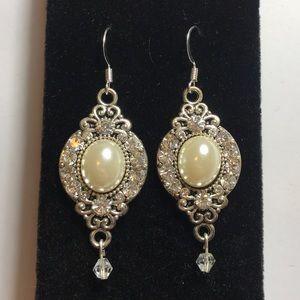 Pearl and crystal pendant earrings
